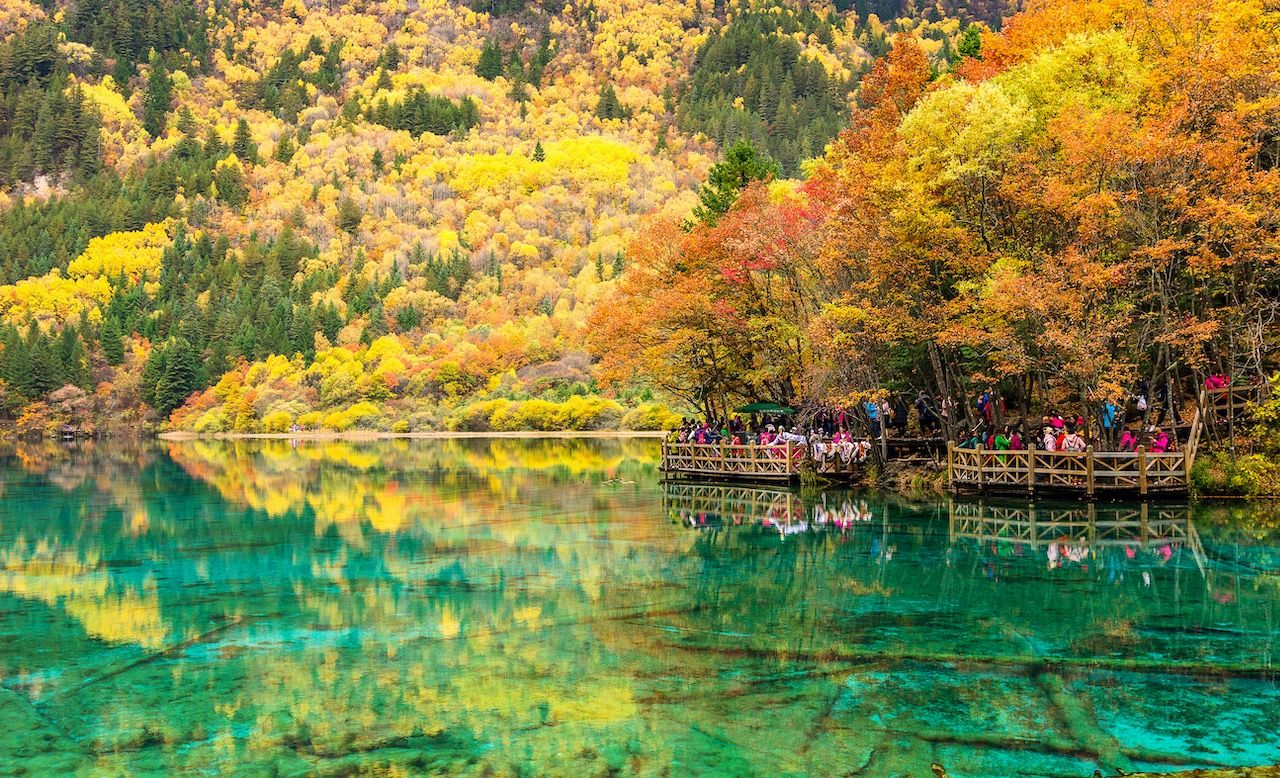 Five Flower Lake in Jiuzhaigou National Park Sichuan China clearest waters