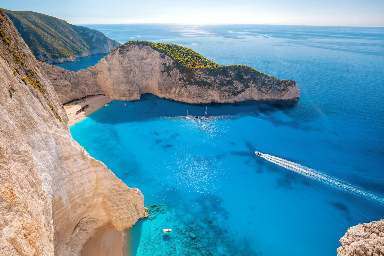 Navagio Beach on Zakynthos Island in Greece