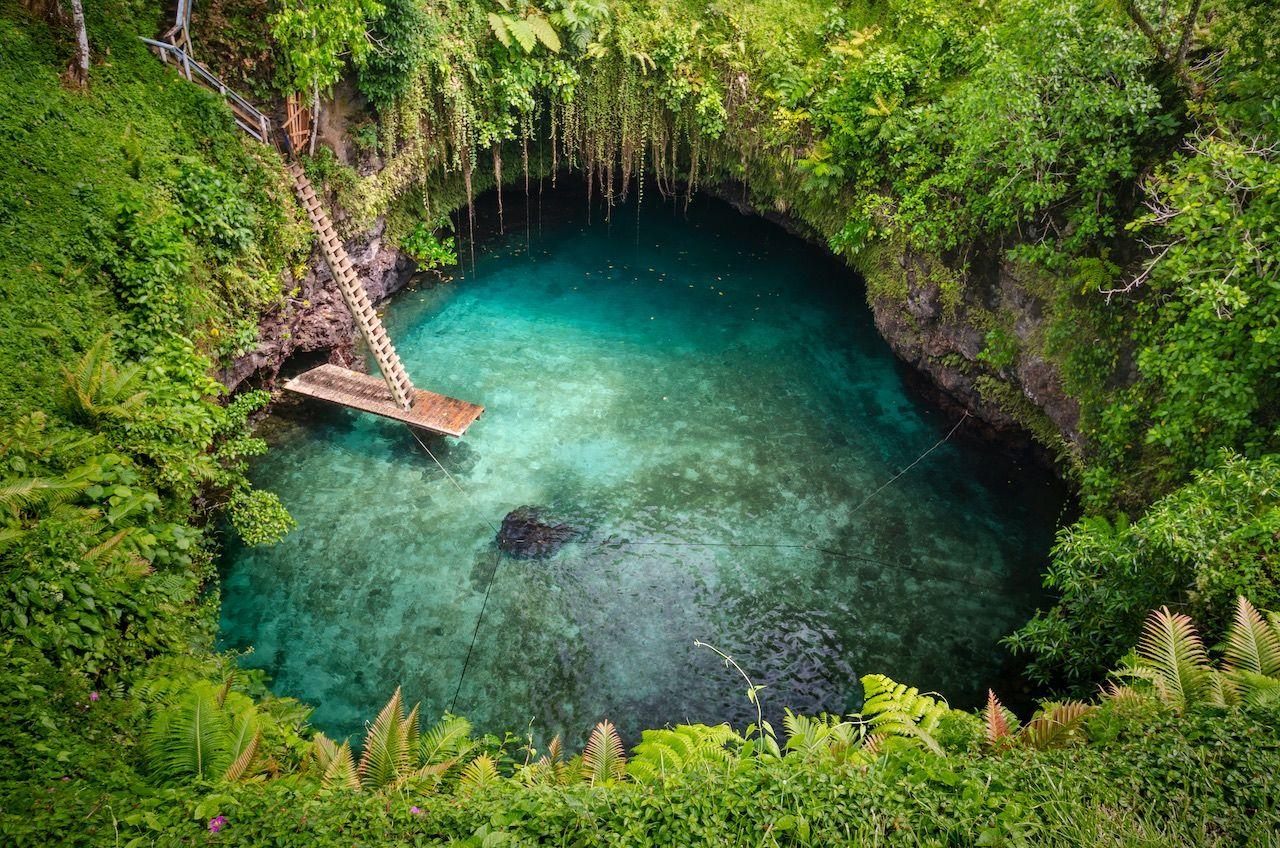 To Sua Ocean Trench near Lotofaga village in Samoa