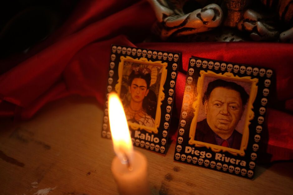 Frida Kahlo and Diego Rivera in a Mexican altar