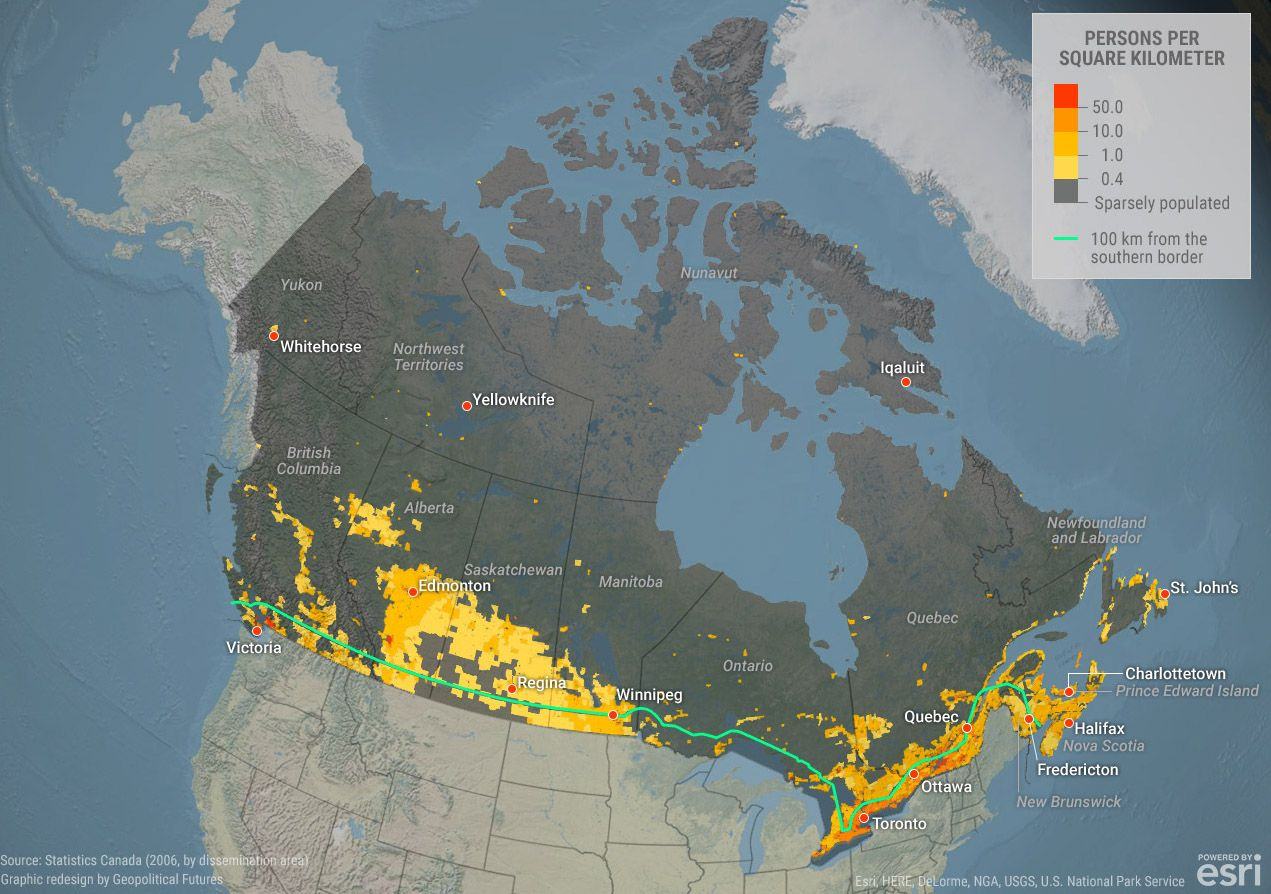 Populate Density Map Canada Where does everyone live in Canada? Check our map to find out!