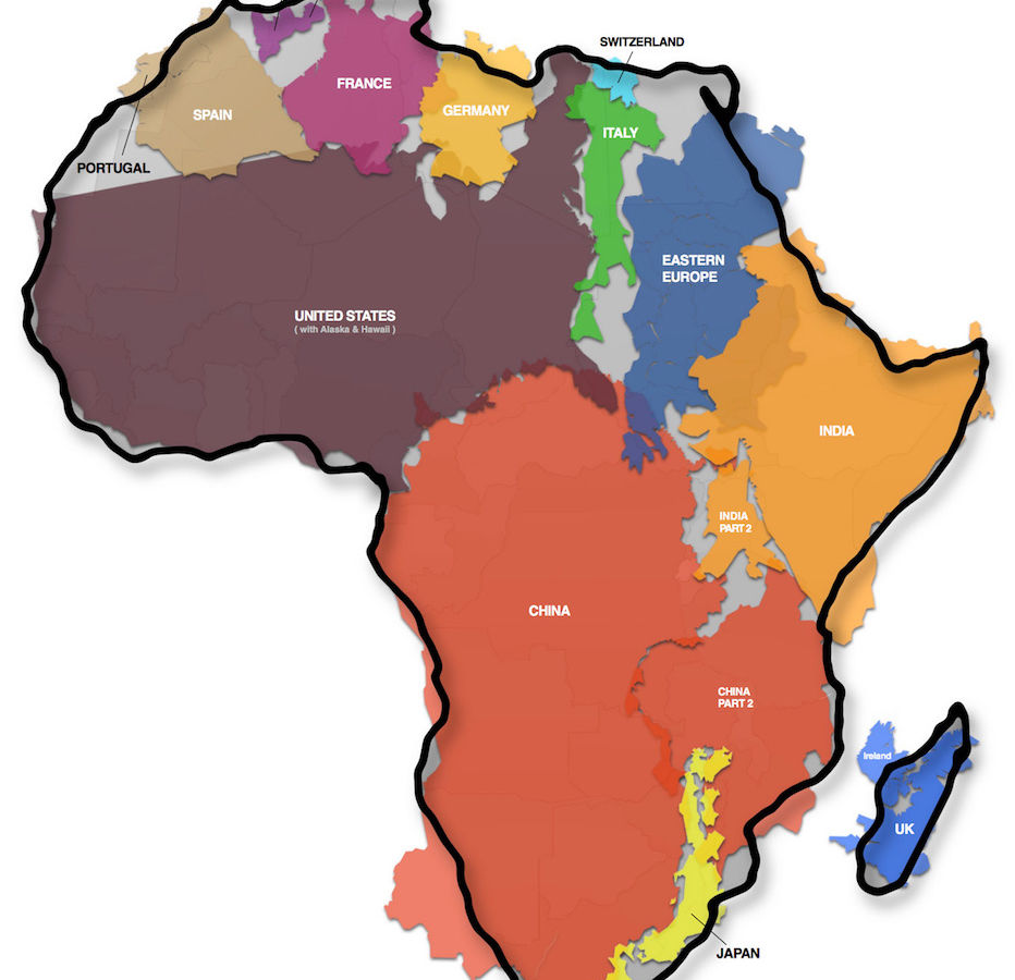 Size Of Africa Map This map shows the actual size of Africa and it is mind boggling.