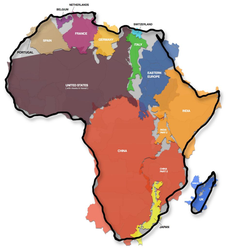 The True Size Of Africa Map This map shows the actual size of Africa and it is mind boggling.