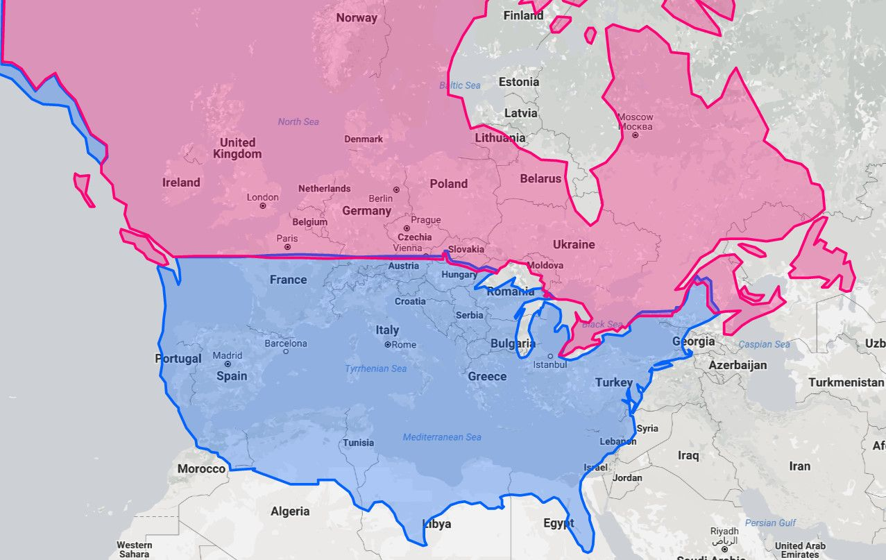 map north america and europe What city in Europe or North America is on the same latitude as yours?