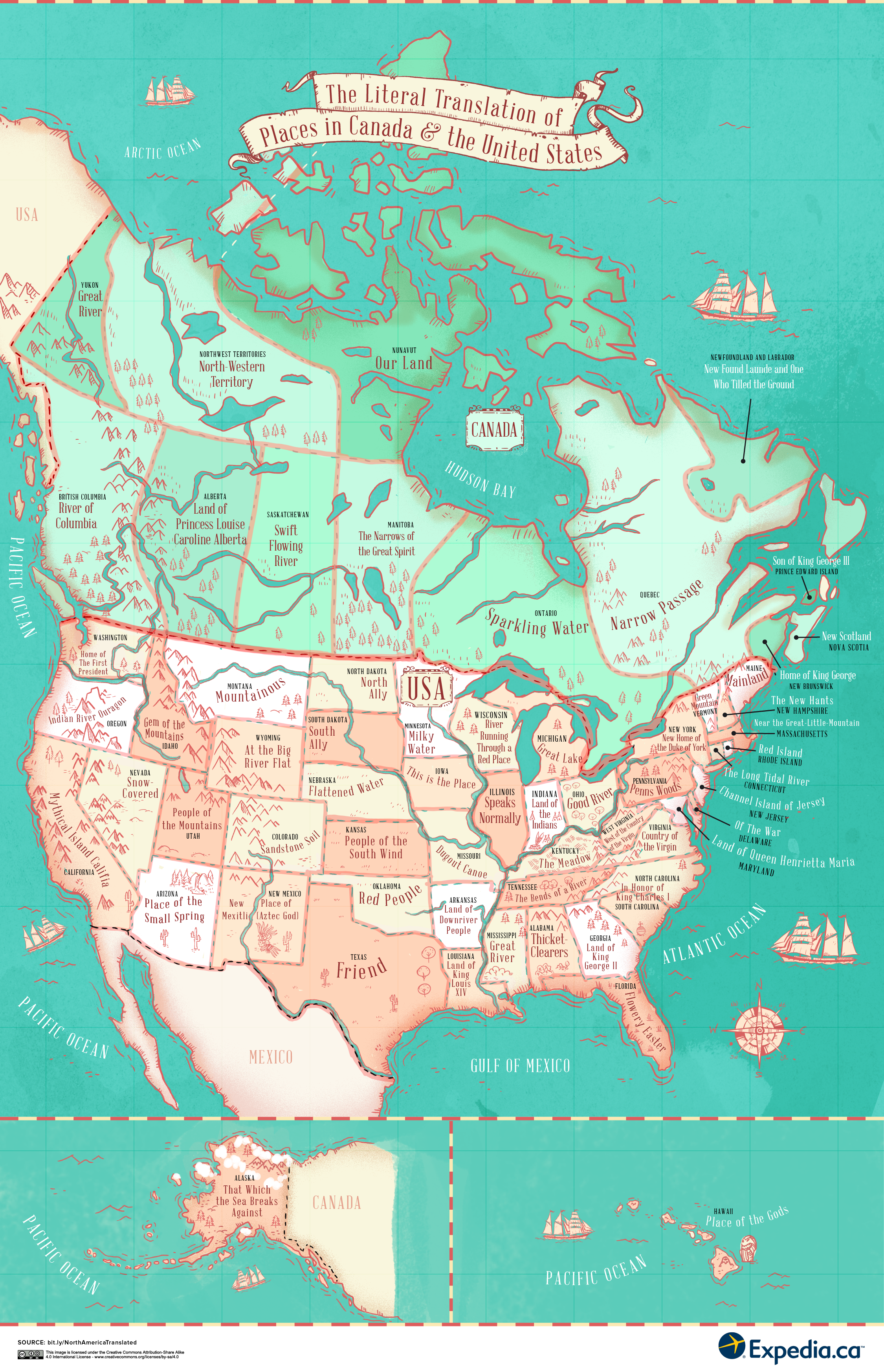 Map Of Canada And United States With Names The literal translation of places in the United States and Canada