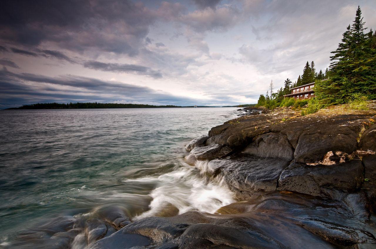 Waves crashing on rocks at Isle Royale National Park