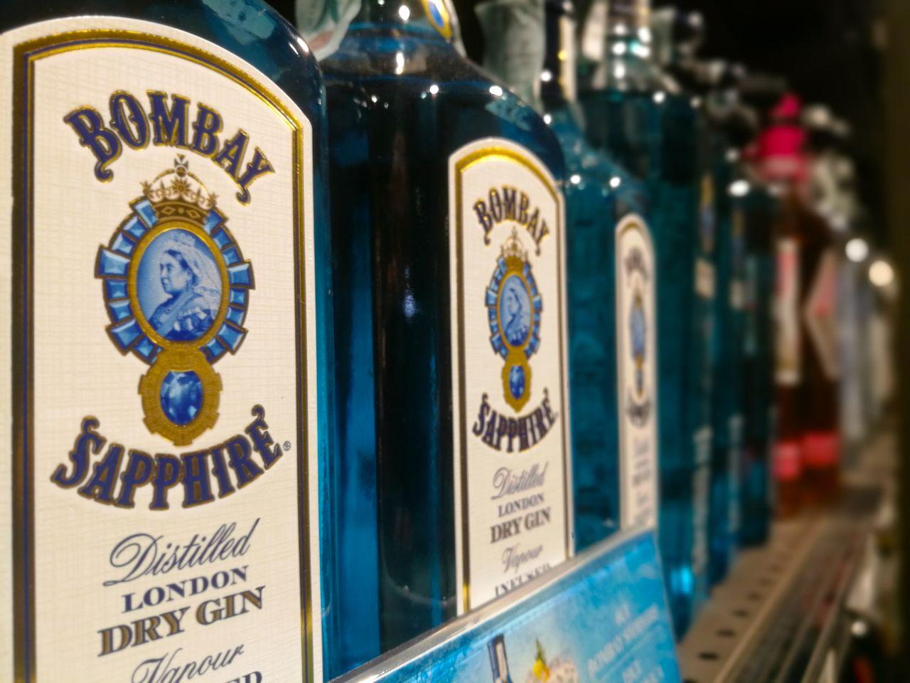 Blue Gin Bottles Bombay Sapphire