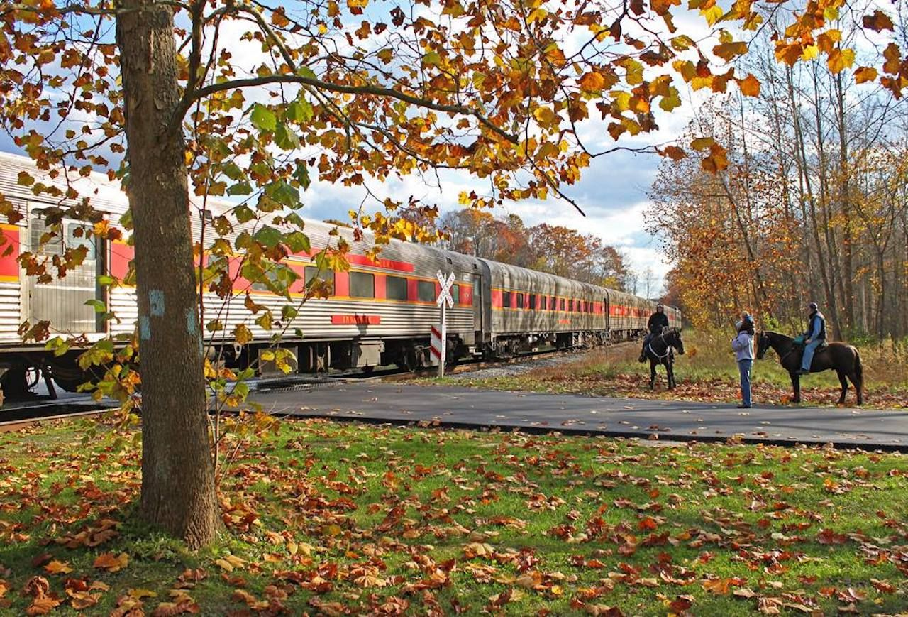 The Cuyahoga Valley Scenic Railroad in Ohio in the fall