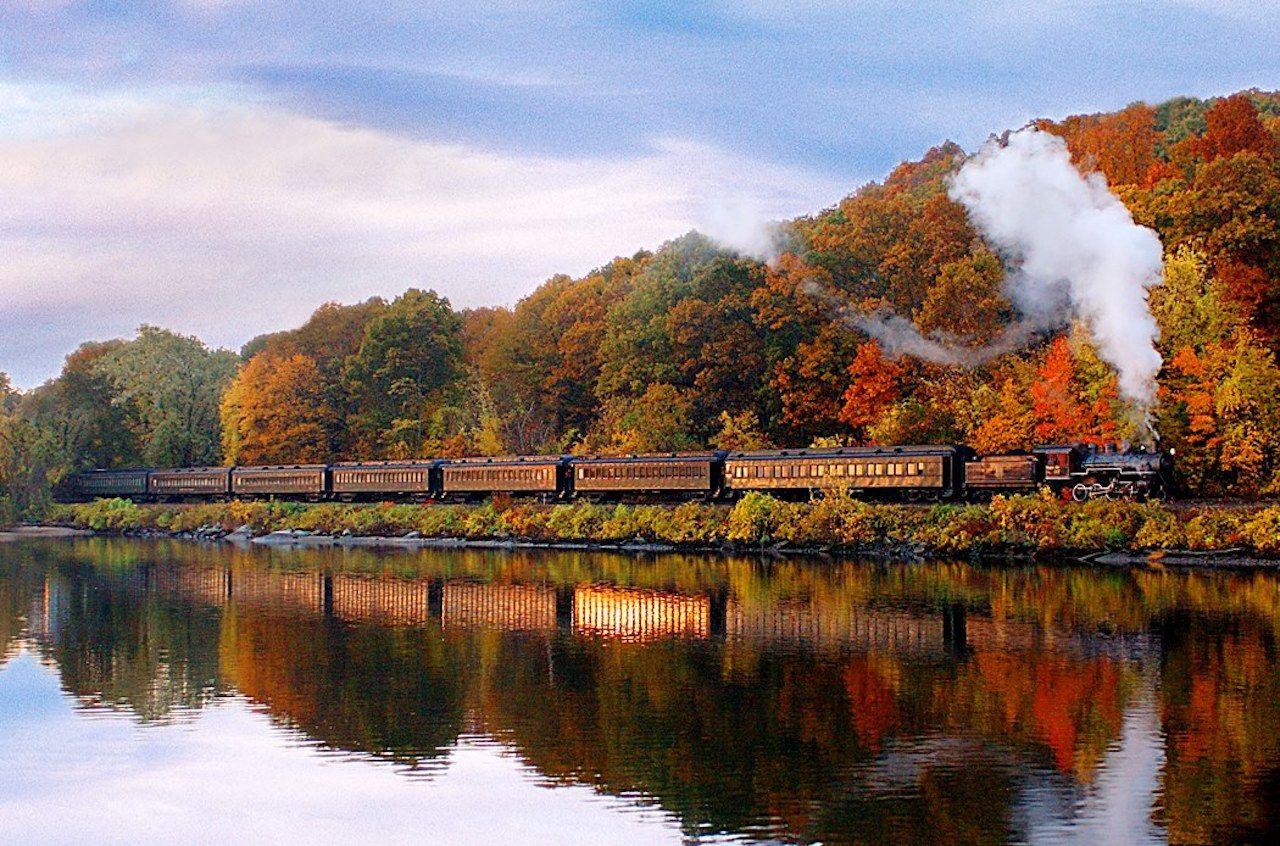 A train ride through fall foliage on the Essex Steam Train