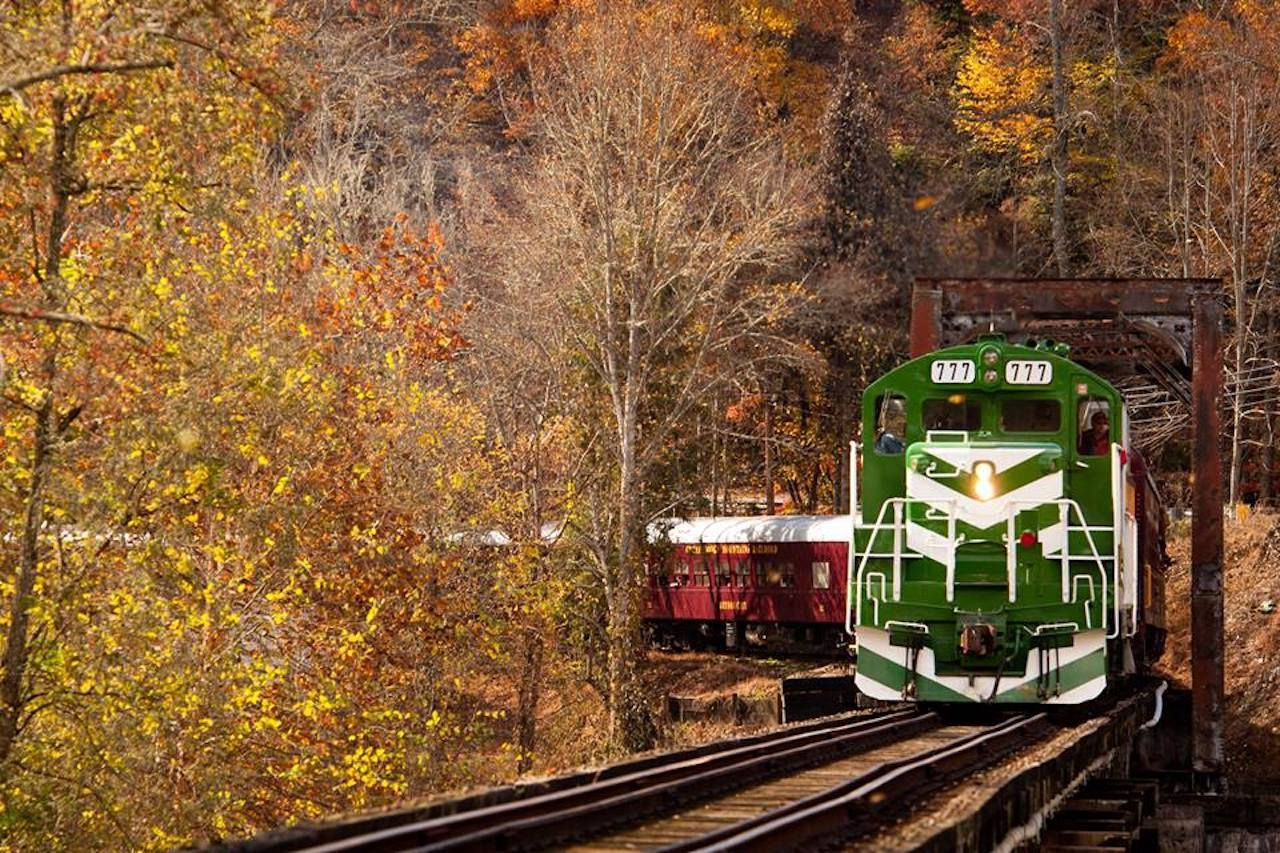 The Great Smoky Mountains Railroad during the fall