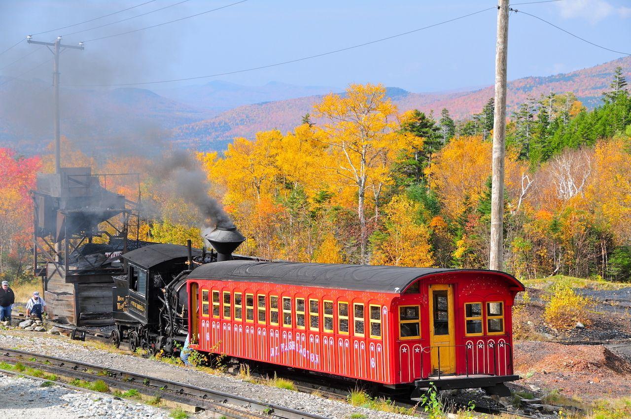 A scenic fall foliage train ride on the Mount Washington Cog Railway