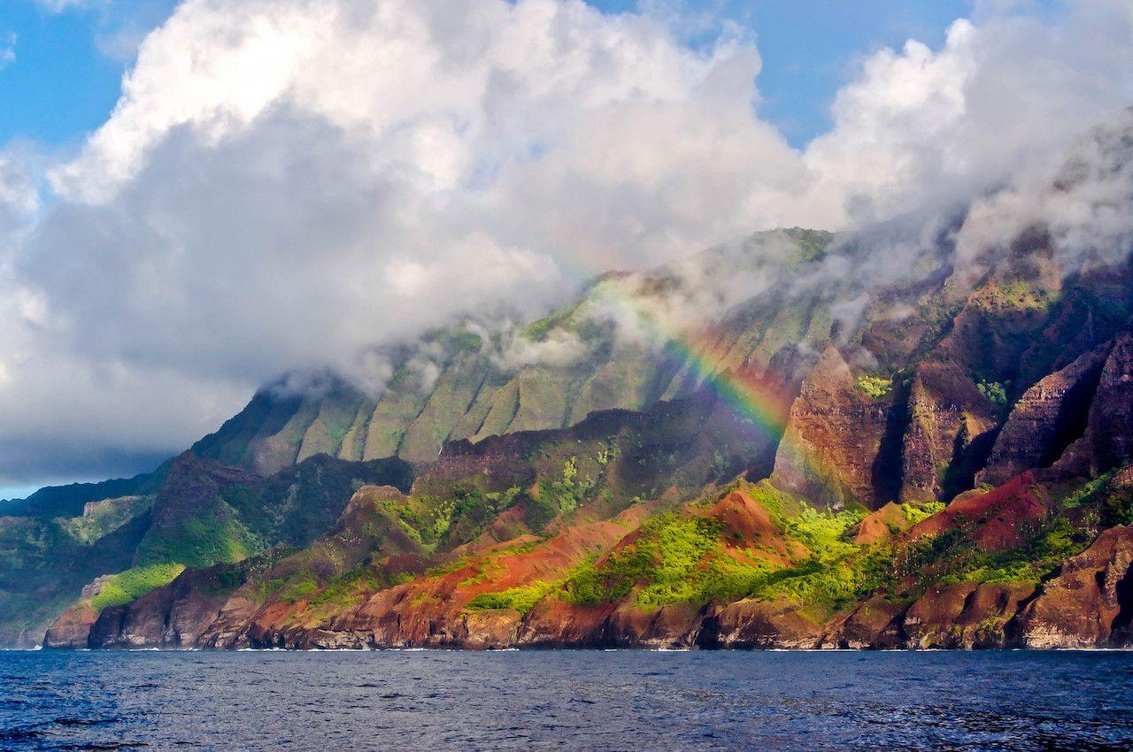 By Pali coast rainbow, kauai hawaii