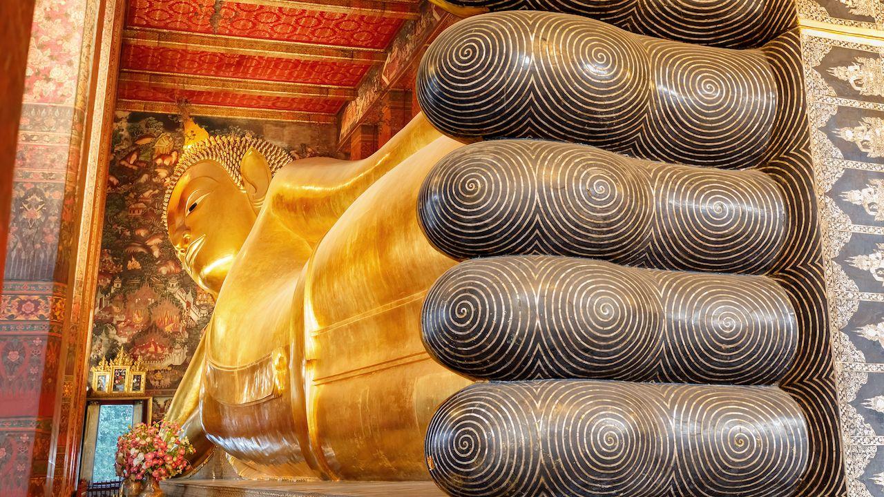 The Reclining Buddhis statue at Wat Pho in Bangkok