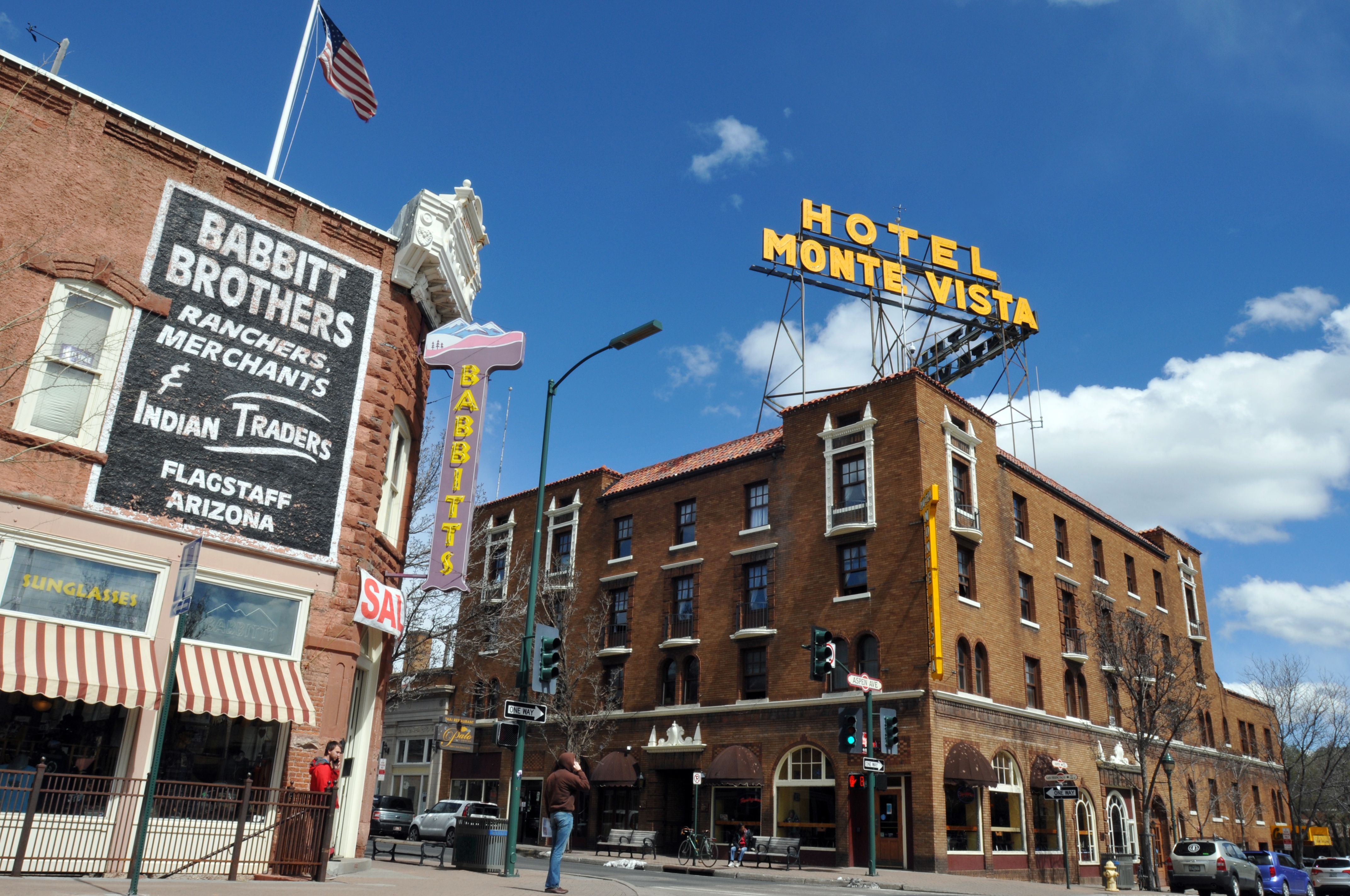 The 1927 Hotel Monte Vista and the 1888 Babbitt Brothers store are landmarks in Flagstaff, Arizona's historic downtown district.