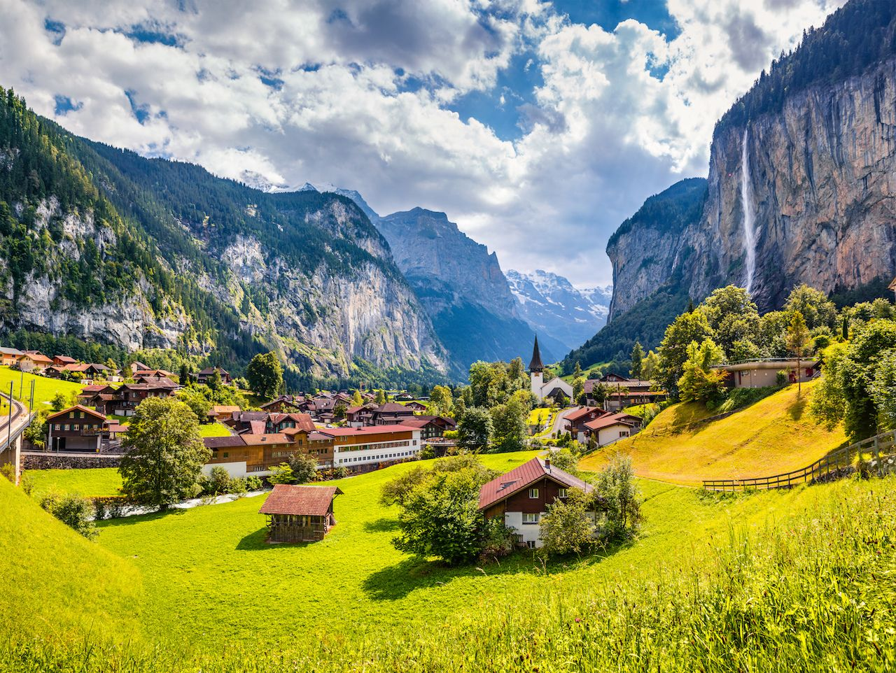 Waterfall in Lauterbrunnen Switzerland village