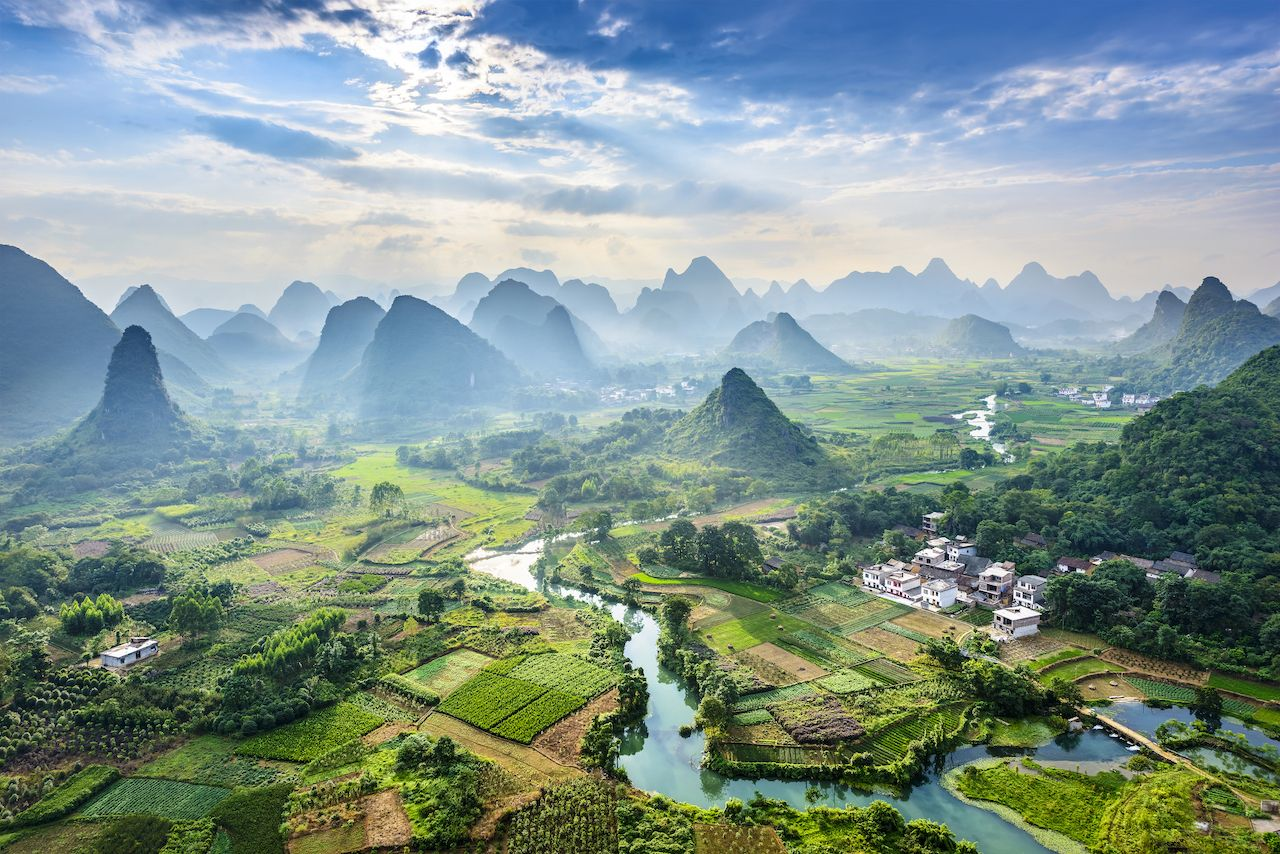 Landscape of Guilin and Li River and Karst mountains in China