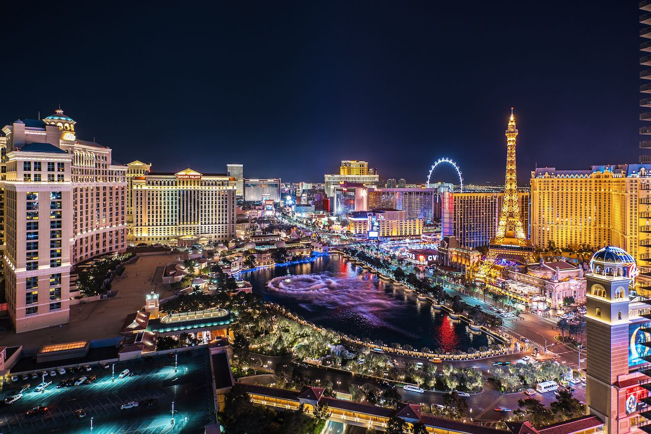Panoramic aerial view of the Las Vegas Strip at night. recreational marijuana laws