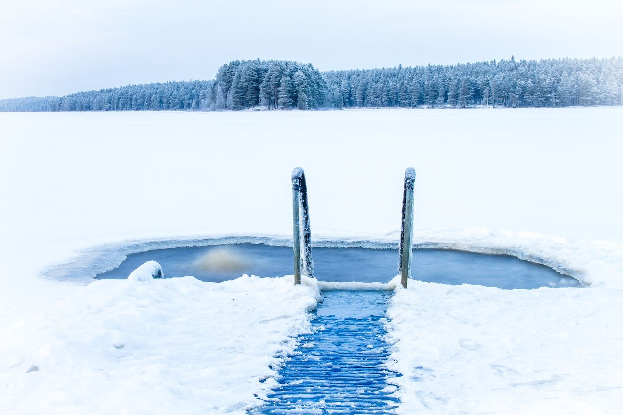 Outdoor pool for ice swimming in Rovaniemi, Finland