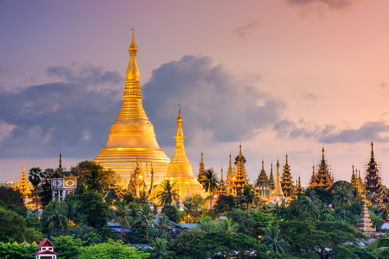 Yangon, Myanmar view of Shwedagon Pagoda at dusk