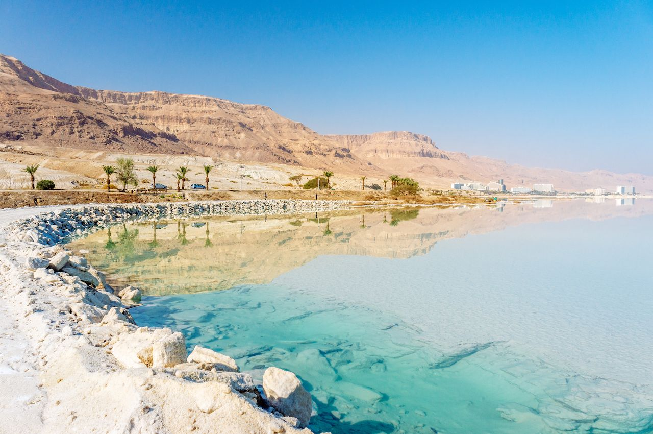 White mineral salt shore at Dead sea, Israel