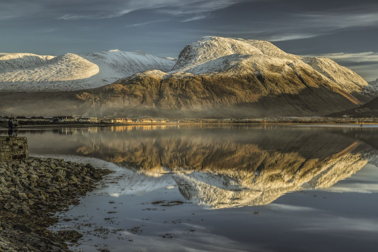 Ben Nevis here covered in snow is the highest peak in the UK
