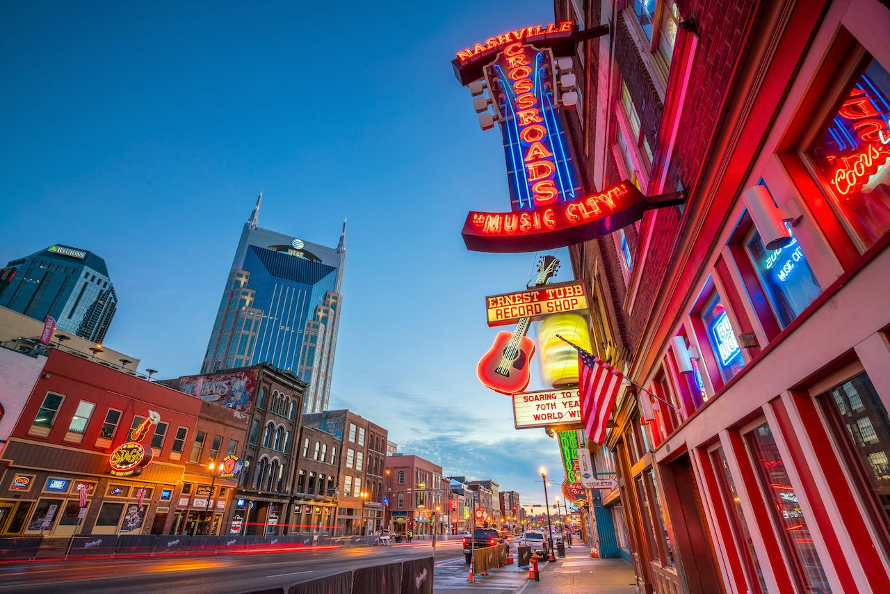 Neon signs on Lower Broadway Area Nashville