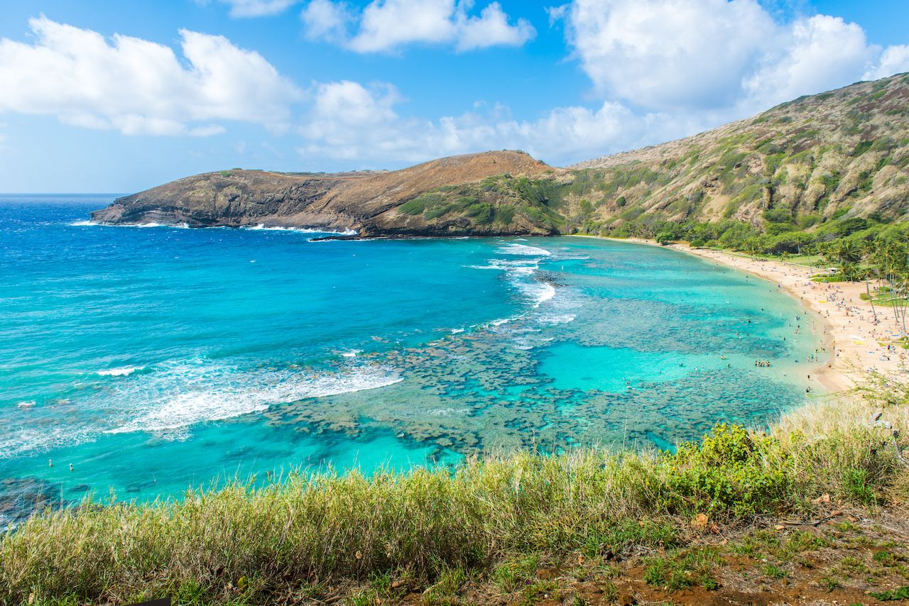 Hanauma Bay, in Oahu, Hawaii, clearest water in the us