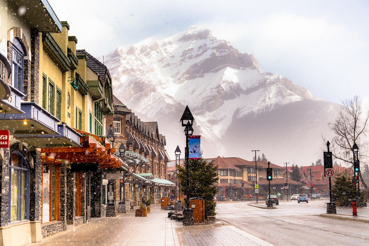 View of a busy street at Banff, Canada