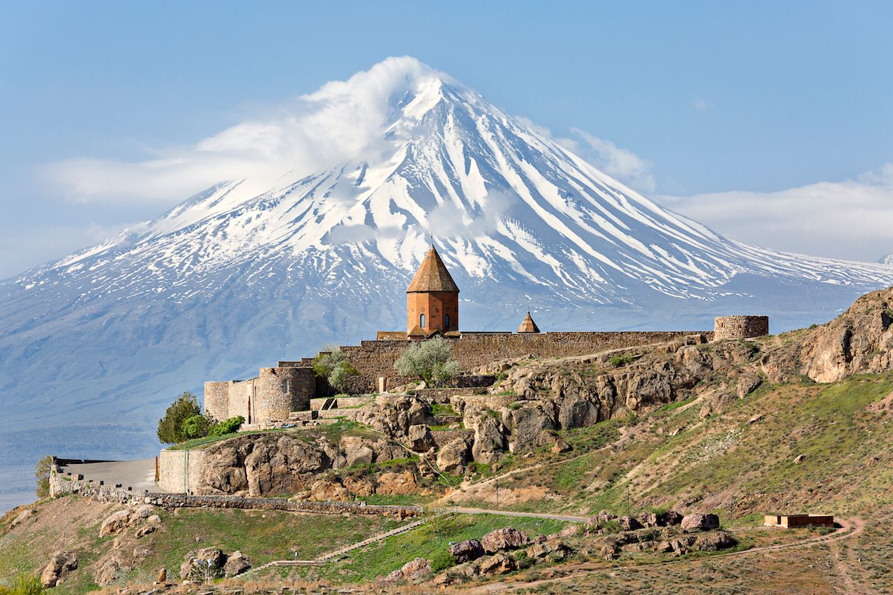 Khor Virap church with Ararat Mountain in the background, Armenia