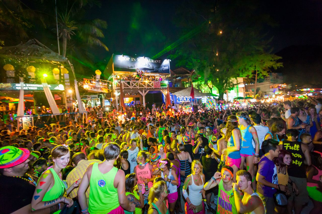 There are about 20,000 people every month at Phangan Isaland