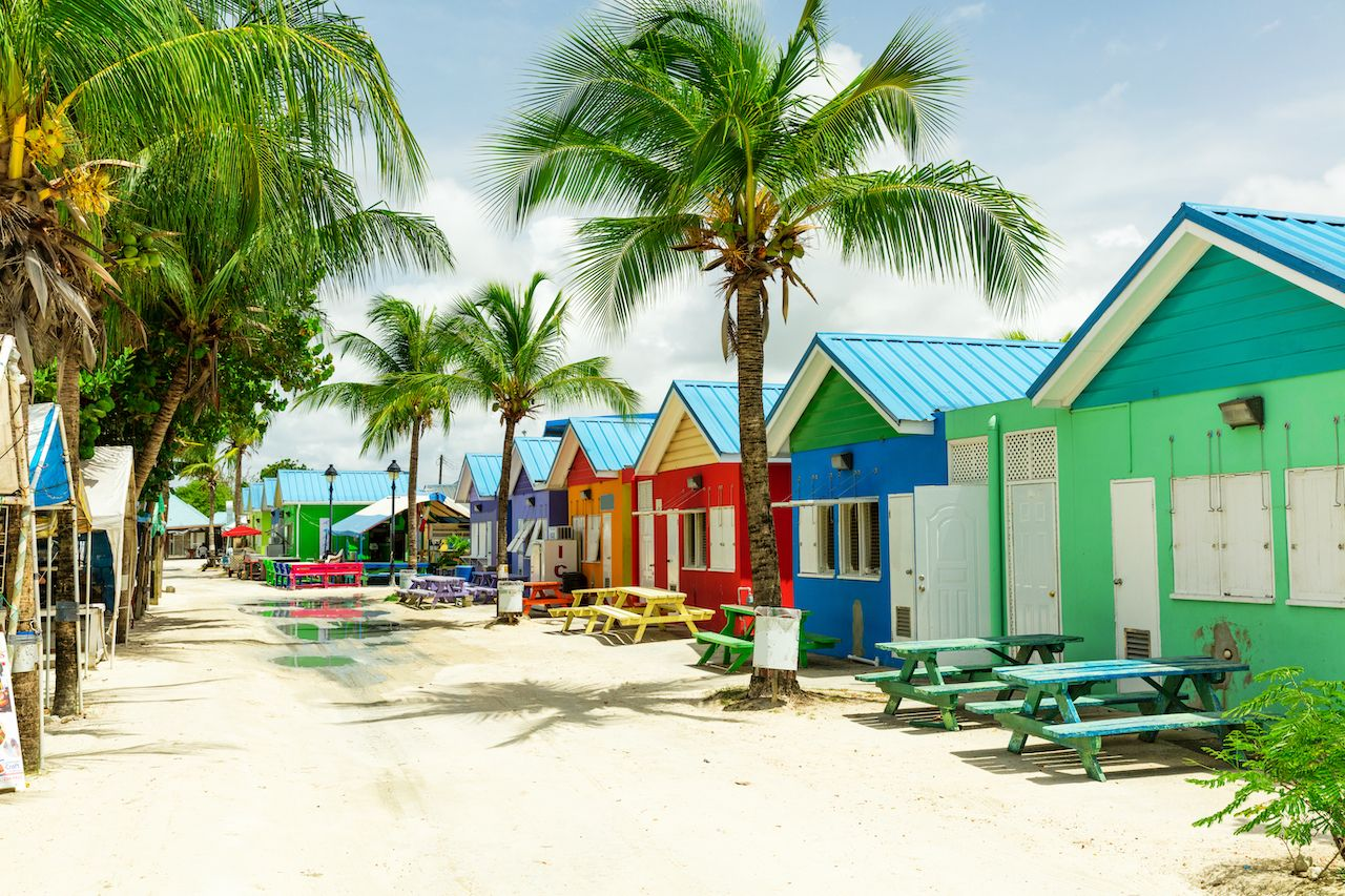 Colourful houses on the tropical island of Barbados in the Carribean