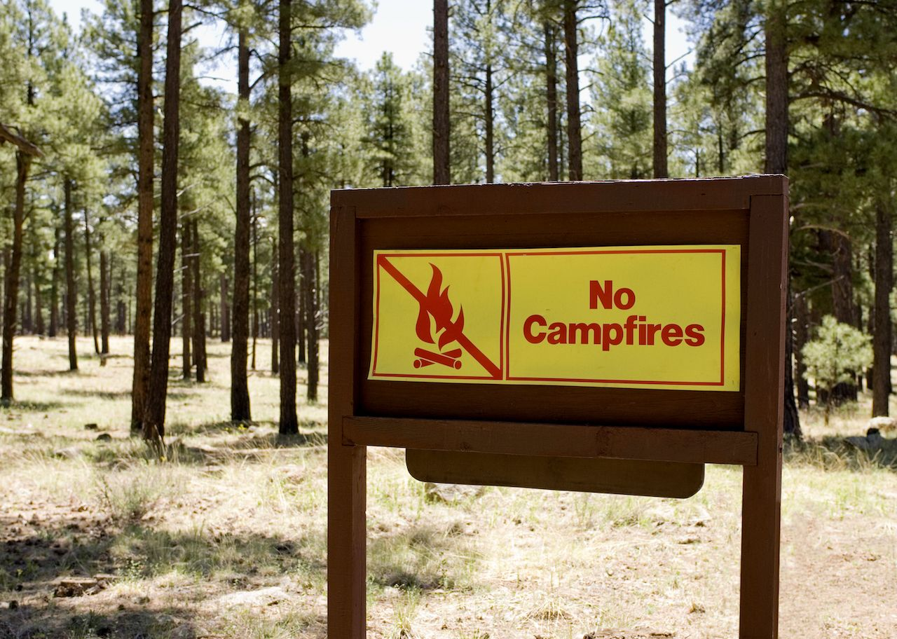 """A yellow and red sign reads """"No campfires"""""""