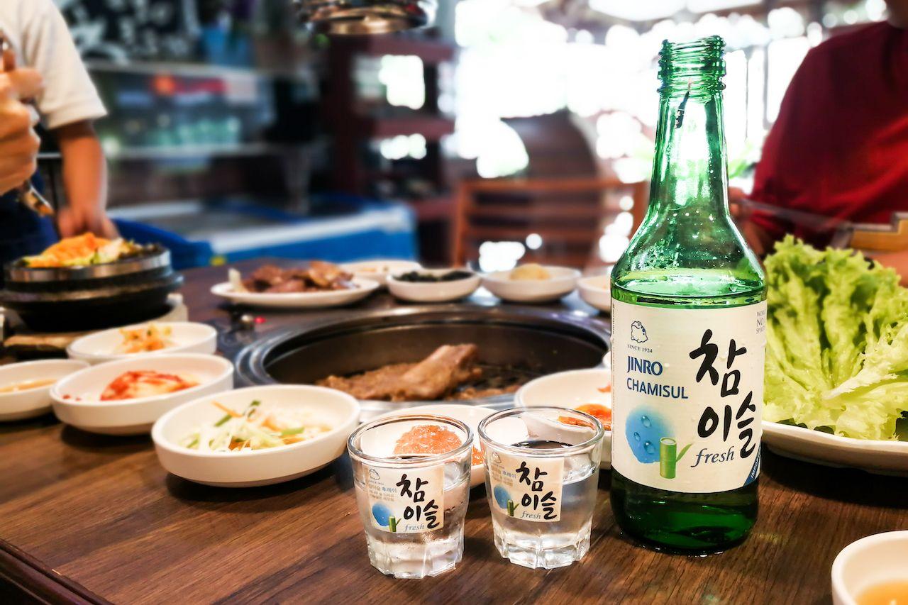 Soju at a korean bbq