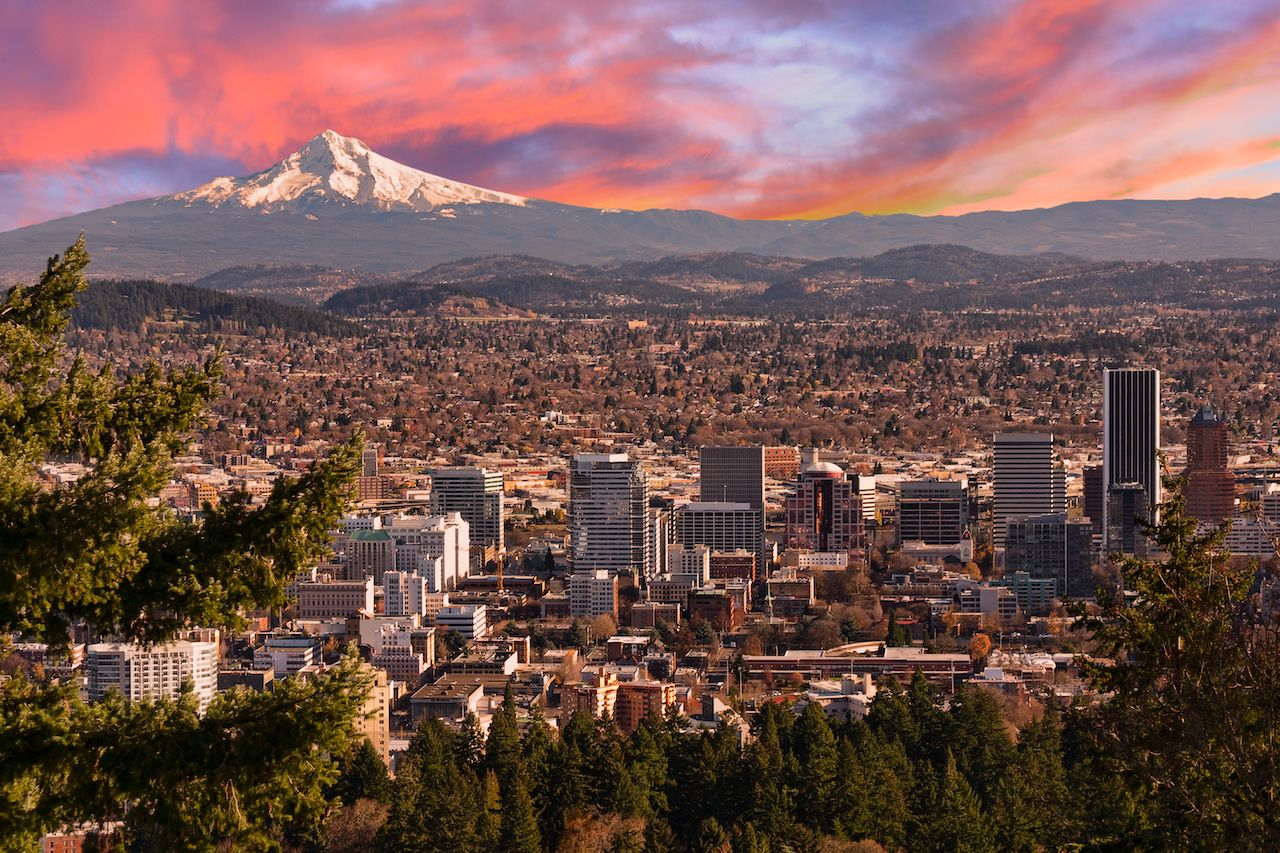 Sunrise View of Portland, Oregon from Pittock Mansion
