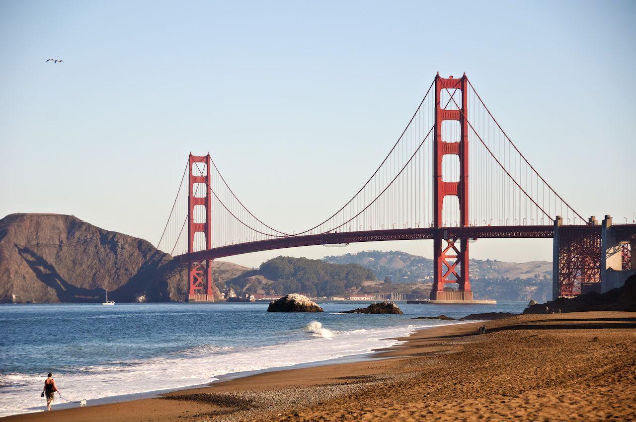 The Golden Gate Bridge in San Francisco in the fall