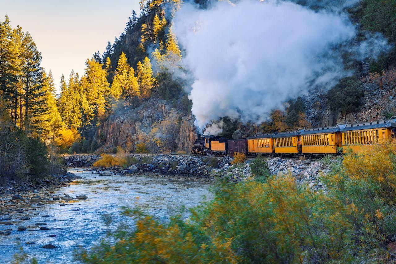 The Durango and Silverton Narrow Gauge Railway fall foliage train trip through Colorado