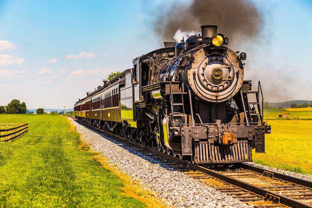 A historic train on the Strasburg Railroad in Ronks, Pennsylvania