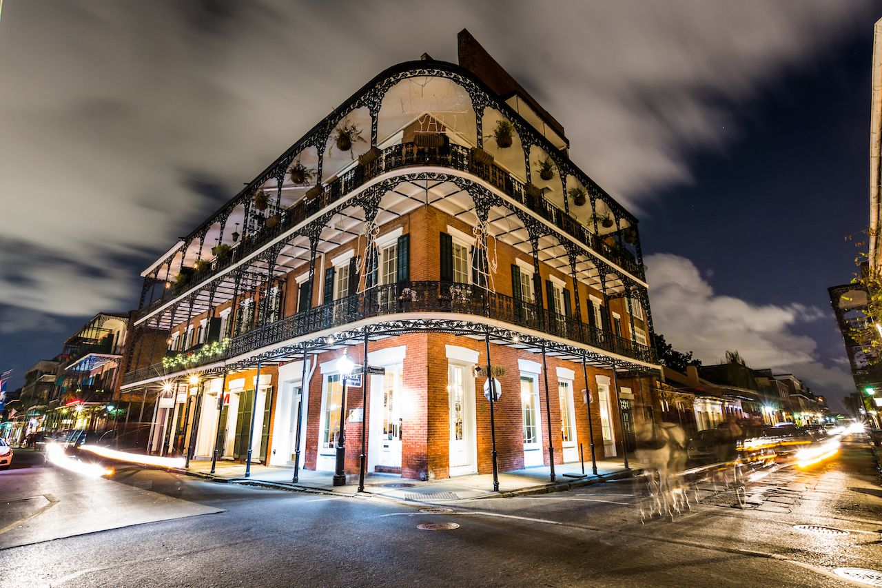 The French Quarter at night on the French Quarter Phantoms haunted tour in New Orleans, LA
