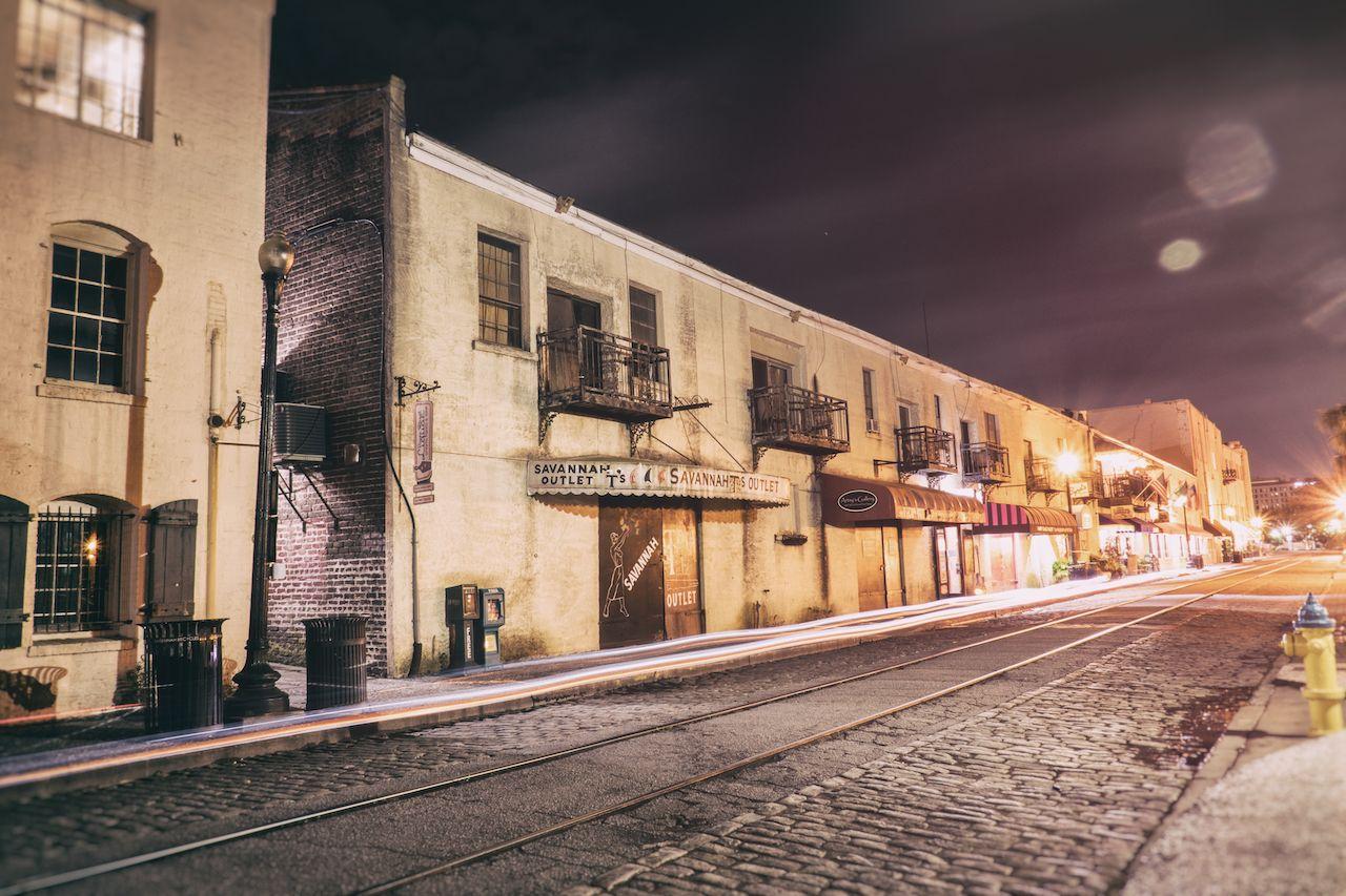 A stop in downtown Savannah on the Blue Orb Savannah Ghost Tour