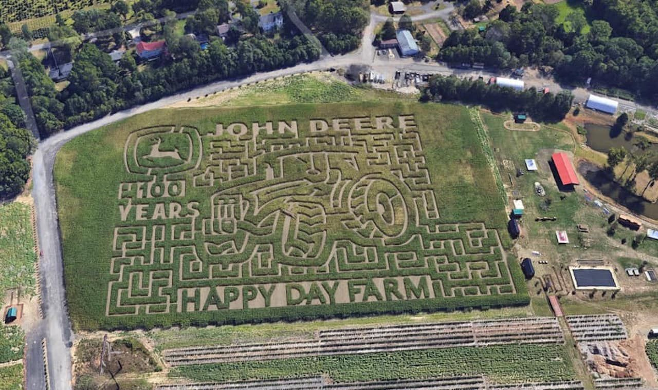 Aerial view of the Happy Day Farm corn mazes in Manalapan, New Jersey