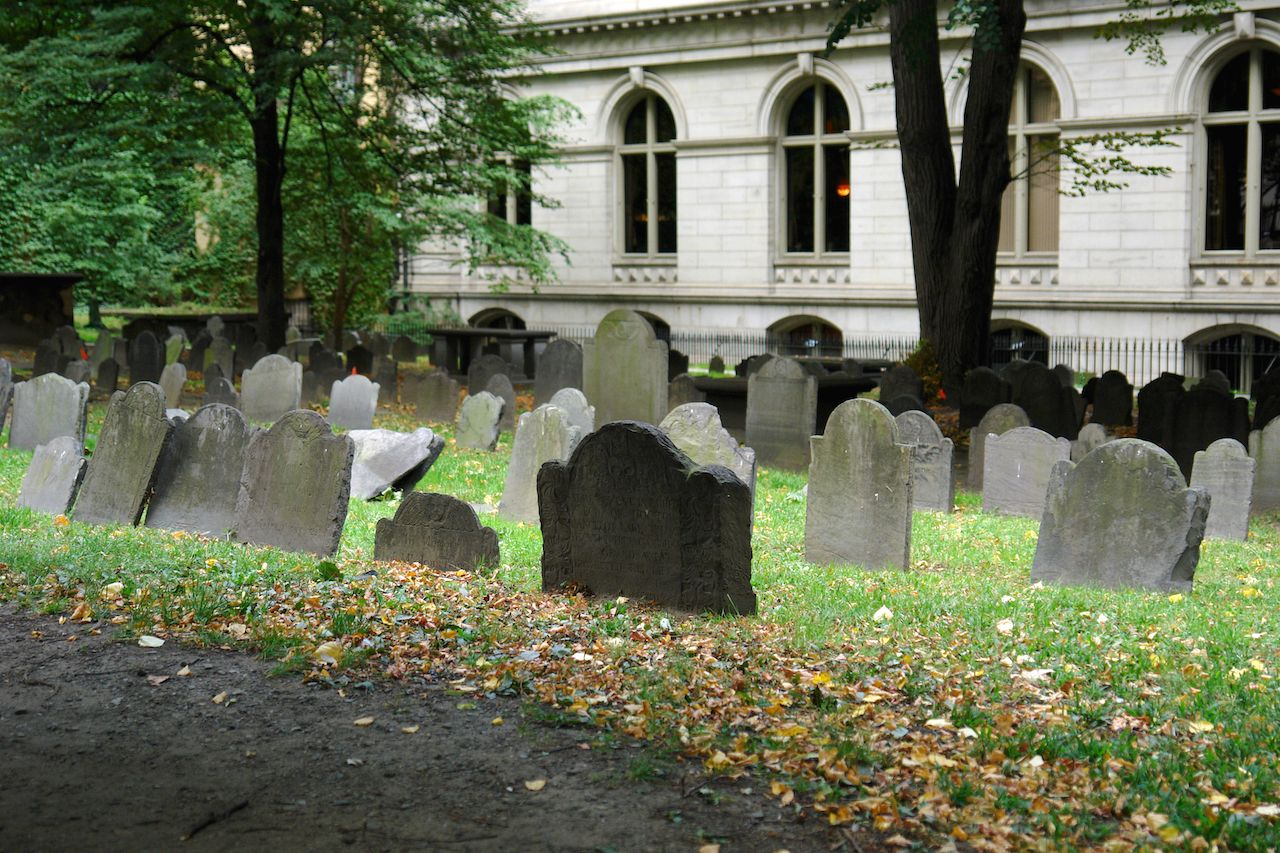 A cemetery on the Ghosts and Gravestones Tour in Boston, MA