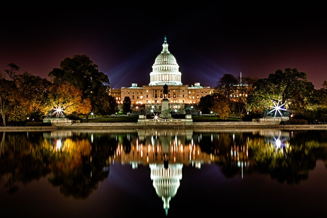 A view of the Capitol building in Washington, DC at night