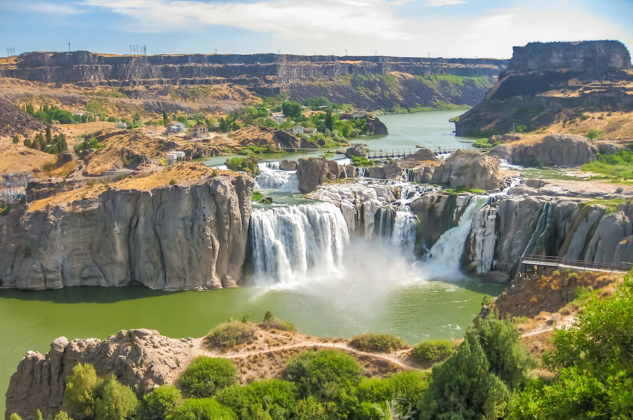 Spectacular aerial view of Shoshone Falls or Niagara of the West, Snake River, Idaho, United States