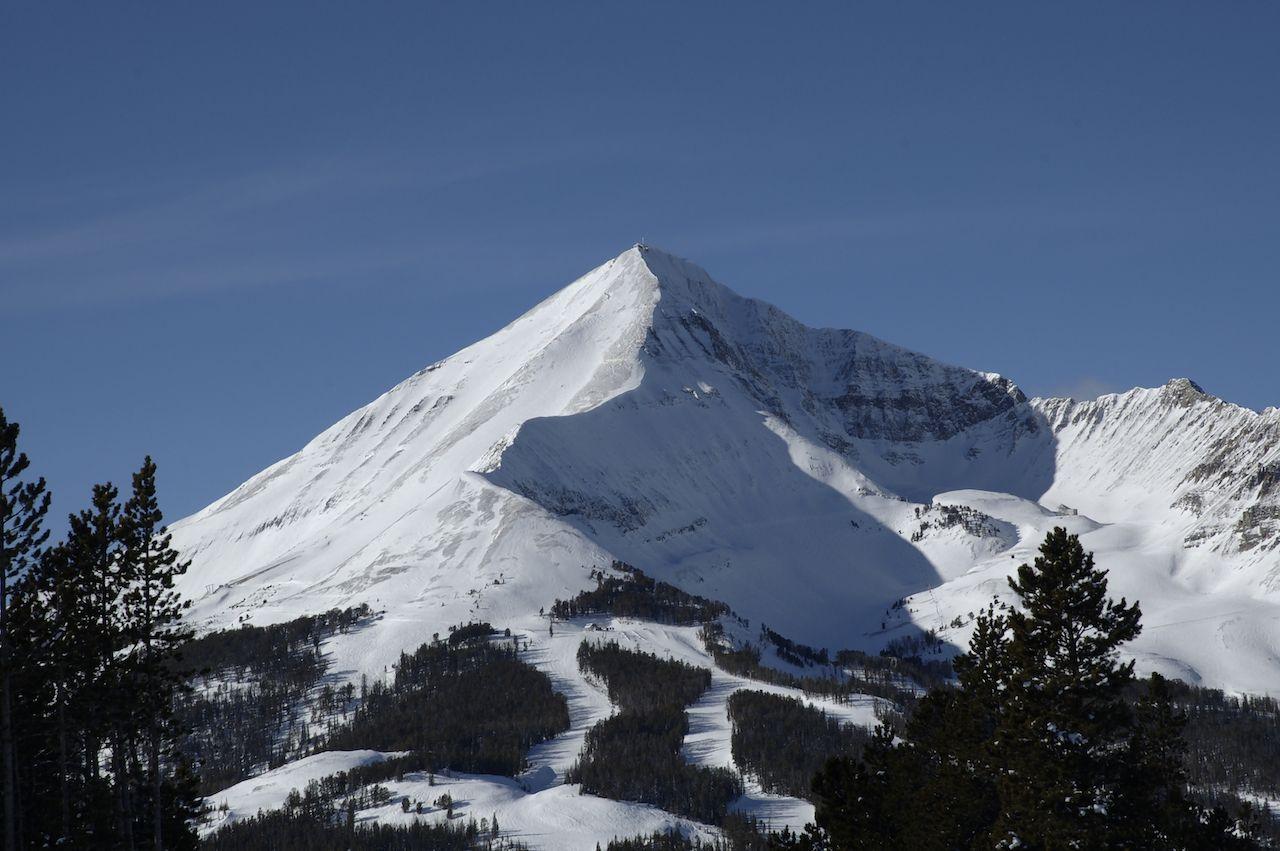 A snow-covered peak at Montana's Big Sky Ski resort