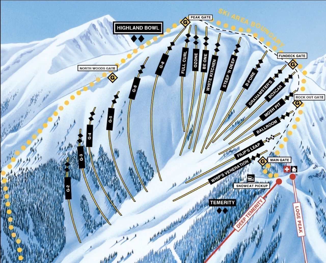 Aspen highland bowl ski run map