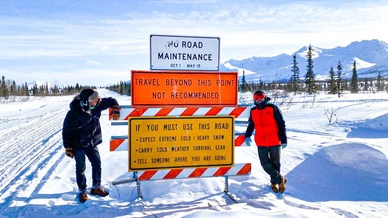 Closed road in Alaska in winter