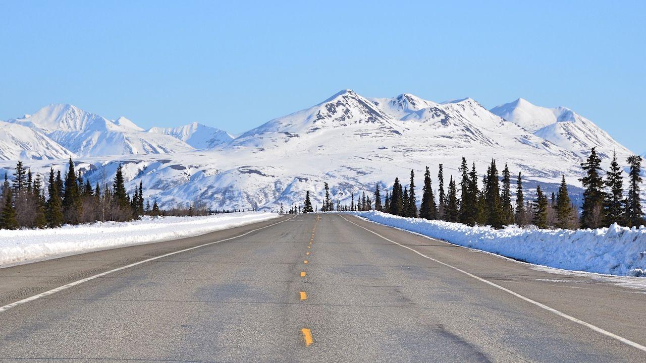Driving in Alaska in winter