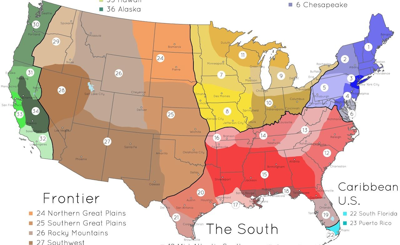 Cultural Map Of The Us Map of cultural regions in the United States