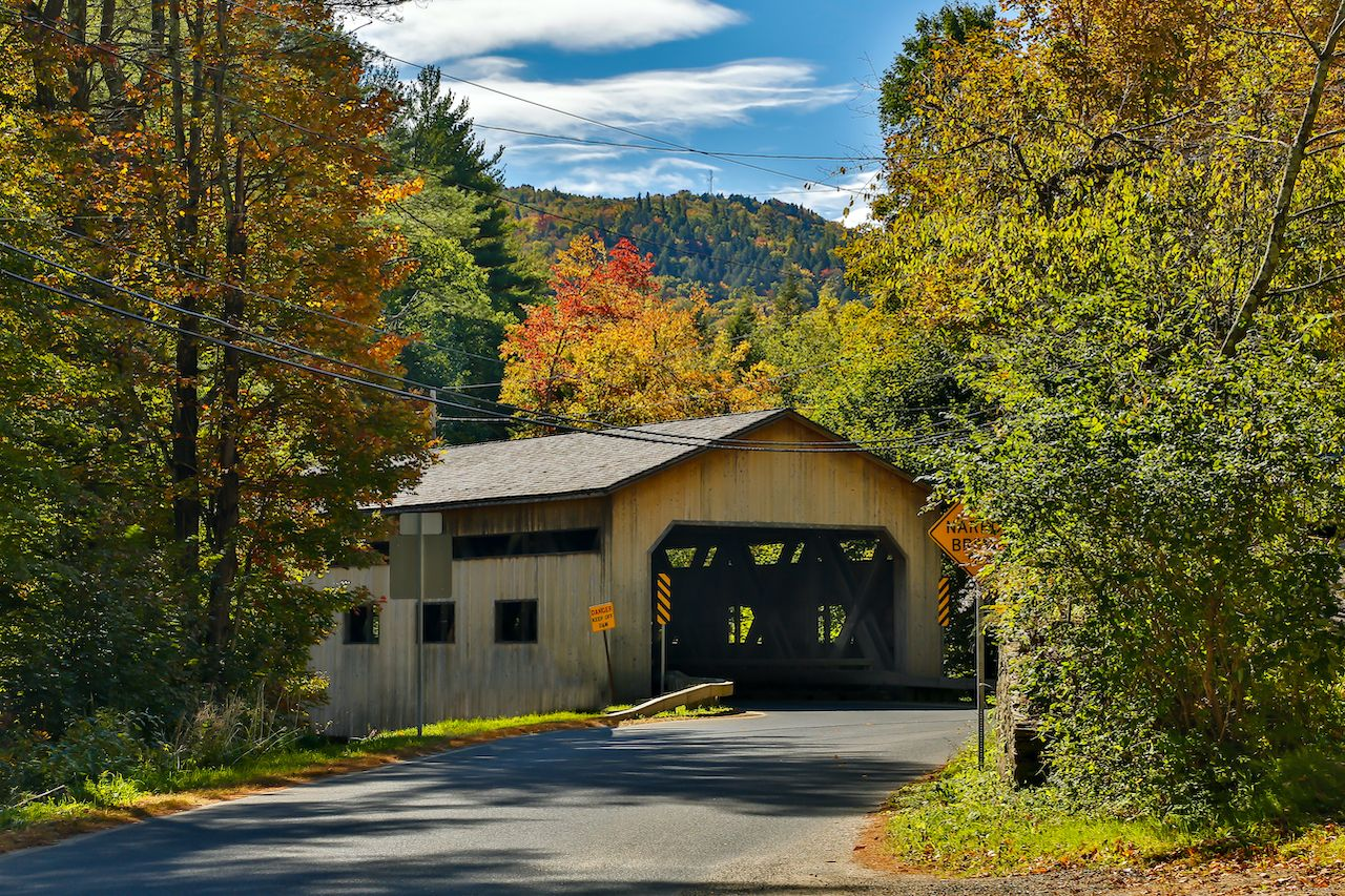 The Bissell Bridge is one of the most scenic covered bridges in Massachusetts
