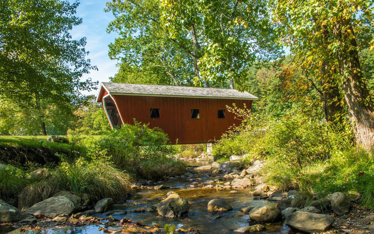 The Kent Falls Bridge is one of the cutest New England covered bridges